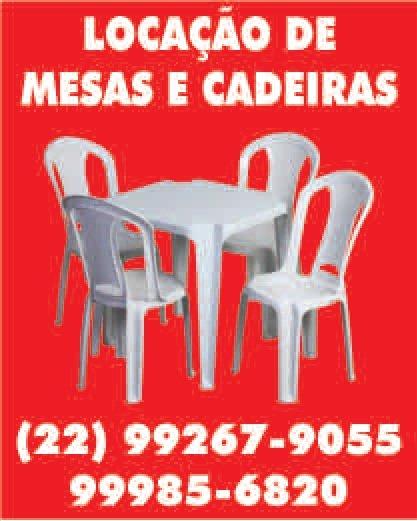 LOCA��O DE MESAS E CADEIRAS