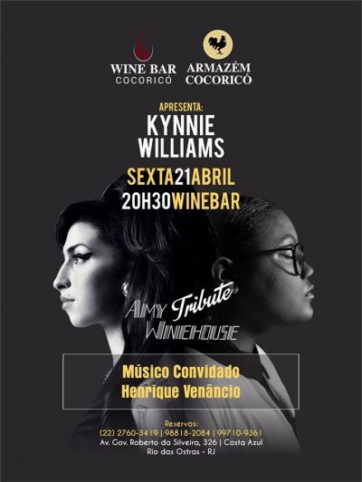 A cantora Kynnie Willians se apresentará na próxima sexta-feira (21), a partir das 20h30