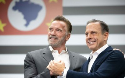 Arnold Schwarzenegger participou de uma reunião com o governador de São Paulo, João Doria