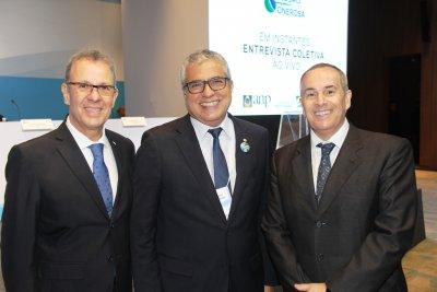 Christino Áureo com o Ministro das Minas e Energias Bento Albuquerque, e prsidente da ANP Decio Oddone