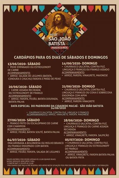 Cardápios para os festejos da Festa do Padroeiro: São João Batista
