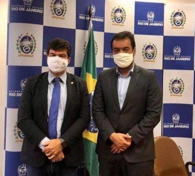 Welberth Rezende, prefeito eleito por Macaé, e o governador em exercício, o Cláudio Castro.