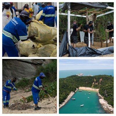 Prefeitura recolhe tonelada de lixo em mutirão de limpeza na Ilha do Francês